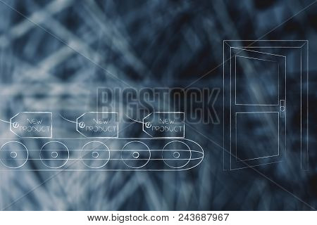 Mass-production Themed Conceptual Illustration: Price Tag With New Product Text On Production Line A