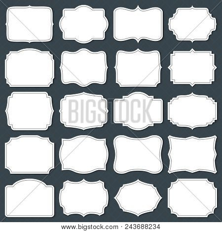 Vintage Cardboard Blank Labels. Old Fashion Victorian Invitation Vector Frames Isolated. Cardboard P