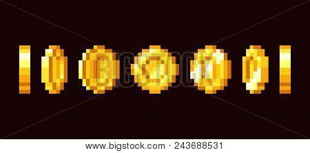 Gold Coin Animation Frames For 16 Bit Retro Video Game. Pixel Art Vector Set. Illustration Of Money