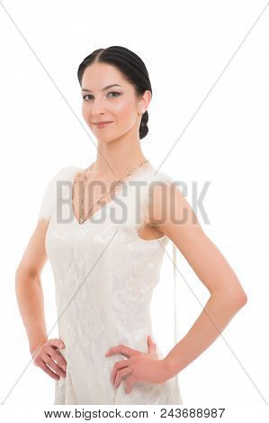 Girl On Smiling Face Dressed In Luxury Dress With Fur Posing With Posture. Dancer Of Ballroom Dance
