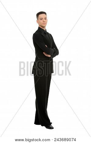 Posture And Confidence Concept. Guy On Confident Face Dressed In Formal Luxury Suit Posing With Post