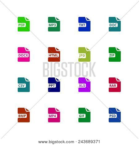 File Format Type Icons. Download Document Vector Buttons. Illustration Of Symbol Web Type, Software