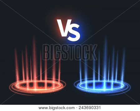 Versus Glowing Teleport Effect On Floor. Vs Battle Scene With Rays And Sparks. Abstract Hologram Sup