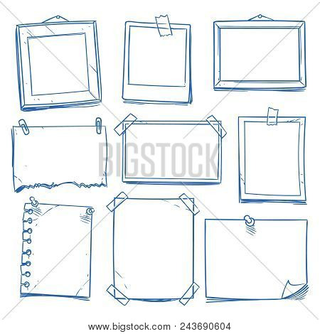 Doodle Blank Memo, Notepaper. Hand Drawn School Notice And Photo Frames Isolated Vector Set. Note Pa