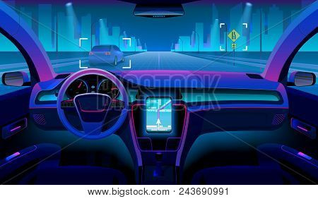 Future Autonomous Vehicle, Driverless Car Interior With Obstacles And Night Landscape Outside. Futur