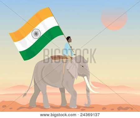 an illustration of an indian elephant with mahout carrying a big flag of india under a sunset sky poster