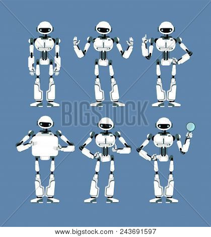 Cybernetic Robot Android With Bionic Arms And Eyes In Different Poses. Cute Cartoon Scifi Humanoid M
