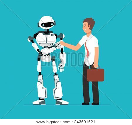 Businessman Shaking Robots Hand. Artificial Intelligence, Human Vs Robot Vector Futuristic Backgroun