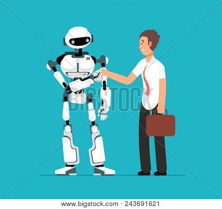 Businessman Shaking Robots Hand. Artificial Intelligence, Human Vs Robot Vector Futuristic Backgroun