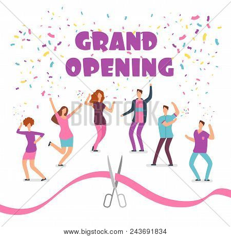 Grand Opening Concept With Happy Dancing People At Party And Red Ribbon With Scissors Cartoon Vector