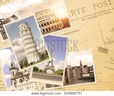 Vintage travel background with retro photos of european landmarks. Eiffel tower in Paris, Leaning Tower of Pisa, Colosseum in Rome. Old paper texture with postcards