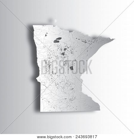 U.s. States - Map Of Minnesota With Paper Cut Effect. Hand Made. Rivers And Lakes Are Shown. Please