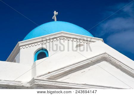 Church Building Detail Mykonos, Greece. Chapel With Cross On Blue Dome With Nice Architecture. Agios