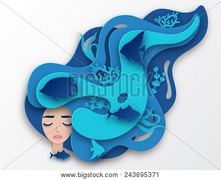 Vector Paper Portrait Of Young Beautiful Woman Mermaid With Long Wavy Hair. Paper Underwater Sea Lif