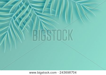 Tropical Paper Palm Leaves Frame. Summer Tropical Leaf. Origami Exotic Hawaiian Jungle, Summertime B