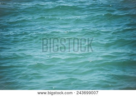 Sea On Abstract Background. Blue Water Ripples. Sea Or Ocean Surface. Purity And Ecology. Summer Vac