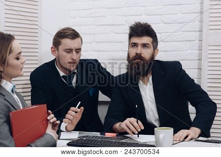 Business Negotiations, Discuss Conditions Of Deal. Business Partners Or Businessmen At Meeting, Offi