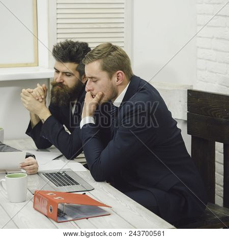 Business Partners Or Businessmen At Meeting, Office Background. Lawyer Or Accountant Consulting Entr