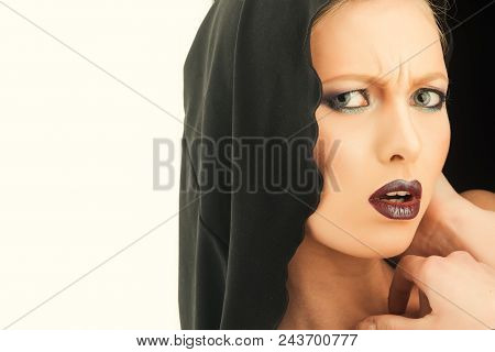 Black Friday Concept. Gothic Fashion And Beauty. Makeup Look And Skincare Sensual Of Girl. Religion
