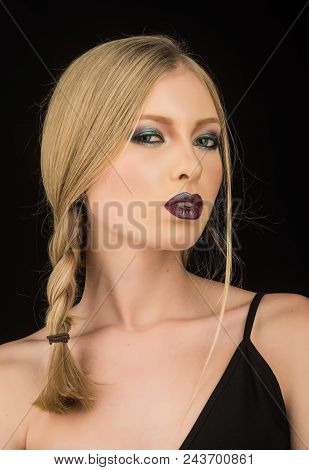 Girl With Pigtail Blond Hair. Hairdresser And Beauty Salon. Makeup Look And Skincare Of Sensual Girl
