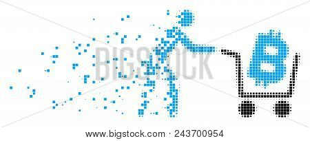 Dispersed Bitcoin Shopping Cart Dotted Vector Icon With Wind Effect. Rectangle Items Are Grouped Int