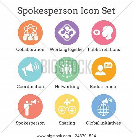 Spokesperson Icon Set - Bullhorn, Coordination, Pr, And Public Relations Person Set