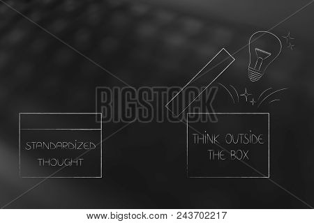 Think Outside The Box Conceptual Illustration: Standardized Thought Next To Open Box With Lightbulb