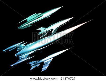 Retro Style Chrome Spaceships