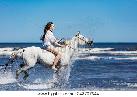 Young girl riding on the white horse through the ocean. Summer. Horseriding on a seashore.
