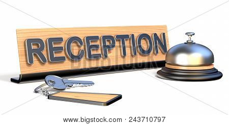 Keys, Reception Bell And Reception Sign 3d Rendering Illustration On White Background