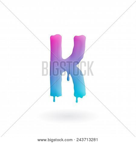 Letter K Logo. Colored Paint Character With Drips. Dripping Liquid Symbol. Isolated Vector