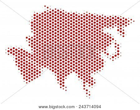Hex Pixel Asia Map. Vector Halftone Territory Scheme On A White Background. Abstract Asia Map Compos