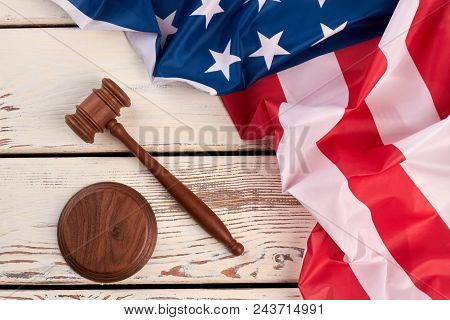 Wooden Gavel And Usa Flag. United States Of America Flag And Judge Gavel On White Vintage Background