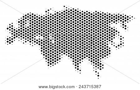 Hex Tile Eurasia Map. Vector Halftone Territorial Plan On A White Background. Abstract Eurasia Map M