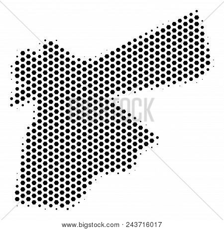 Hexagonal Jordan Map. Vector Halftone Territorial Scheme On A White Background. Abstract Jordan Map
