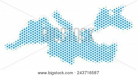 Hex-tile Mediterranean Sea Map. Vector Halftone Territory Plan On A White Background. Abstract Medit