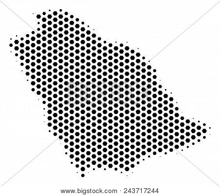 Hex Pixel Saudi Arabia Map. Vector Halftone Geographic Plan On A White Background. Abstract Saudi Ar