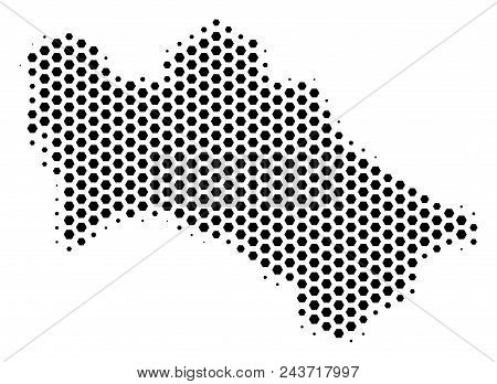Honeycomb Turkmenistan Map. Vector Halftone Territorial Plan On A White Background. Abstract Turkmen