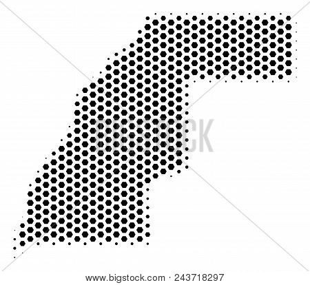 Hex Pixel Western Sahara Map. Vector Halftone Territorial Scheme On A White Background. Abstract Wes