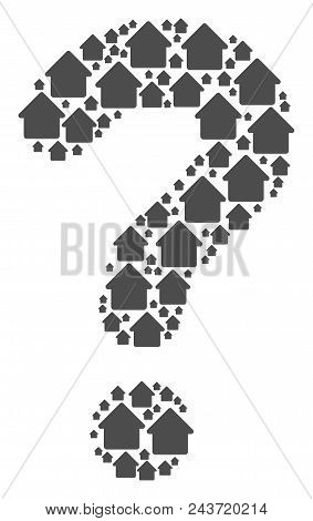 Answer Figure Composed With Cabin Pictograms. Vector Cabin Icons Are Grouped Into Ask Collage.