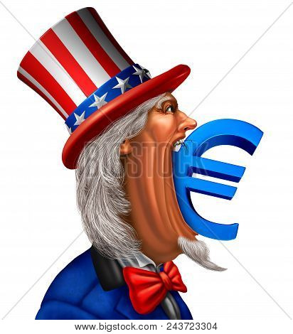 American European economic concept as uncle sam biting into a euro currency symbol as a Europe and United States trade dispute or trade war with 3D illustration elements. poster