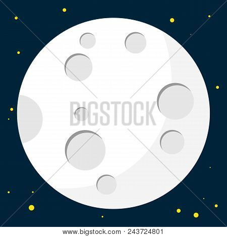 Full Moon Design. Night Space Astronomy And Nature Moon Icon. Gibbous Vector On Dark Background. Car