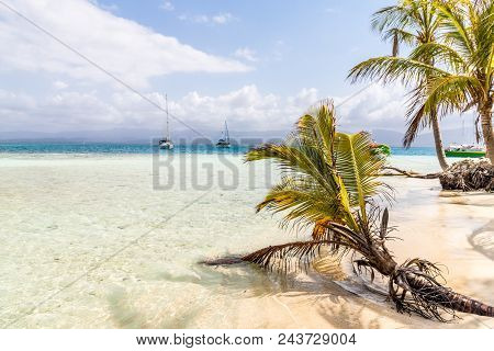 A View Of A Beachscape In The San Blas Islands, Panama.