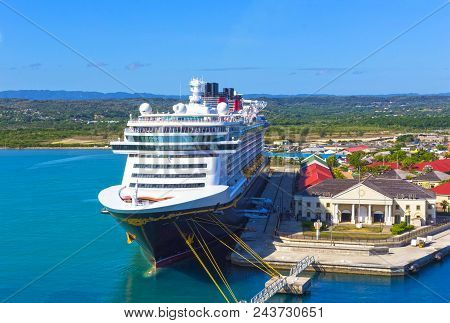 Falmouth, Jamaica - May 02, 2018: Cruise Ship Disney Fantasy By Disney Cruise Line Docked In Falmout