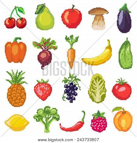 Fruits Pixel Vegetables Vector Healthy Nutrition Of Fruity Apple Banana And Vegetably Carrot For Veg