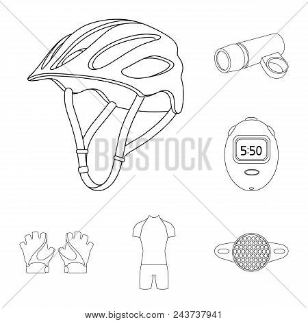 Bicycle Outfit Outline Icons In Set Collection For Design. Bicycle And Tool Vector Symbol Stock  Ill