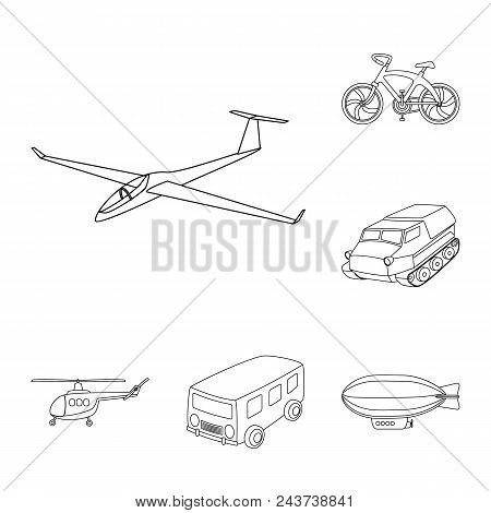 Different Types Of Transport Outline Icons In Set Collection For Design. Car And Ship Vector Symbol