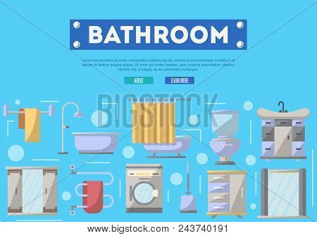 Bathroom Furniture Renovation Poster With Washing Machine, Shower Cabin, Toilet, Table, Bathtub, Tow