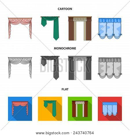 Different Types Of Window Curtains.curtains Set Collection Icons In Cartoon, Flat, Monochrome Style
