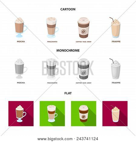 Mocha, Macchiato, Frappe, Take Coffee.different Types Of Coffee Set Collection Icons In Cartoon, Fla
